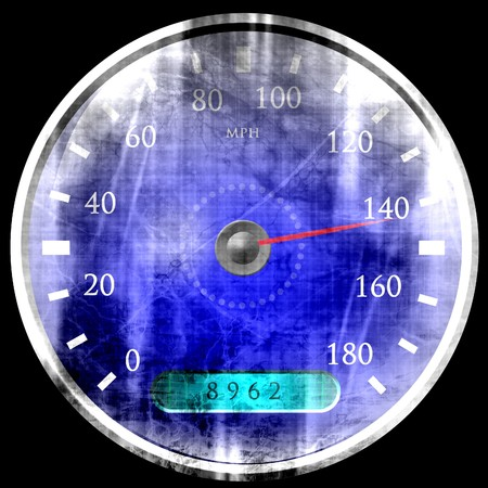 exceed: grunge speedometer on a solid black background