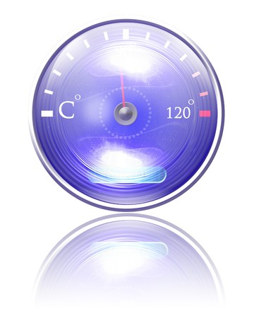 Temperature reading on dashboard on a white background photo