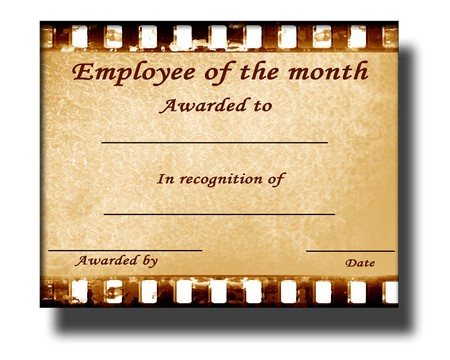 employee of the month certificate with some stains photo
