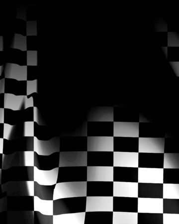 fastest: Checkered flag waving in the wind with some folds in it Stock Photo
