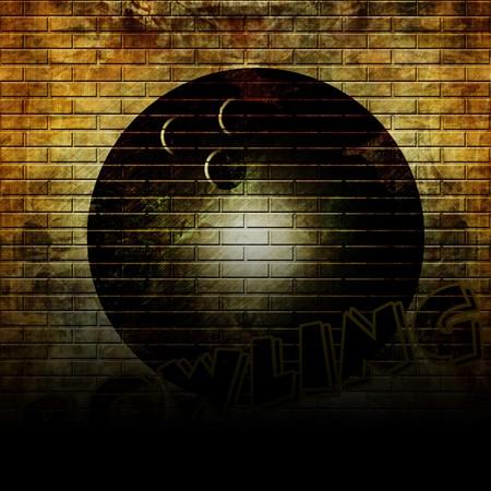 vandal: Graffiti bowling ball on a grunge wall Stock Photo