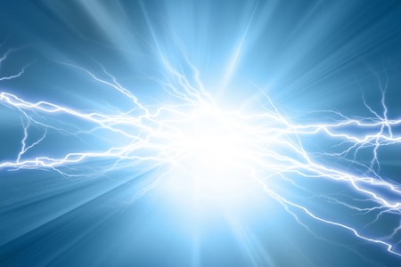 volts: Electrical sparks on a soft blue background