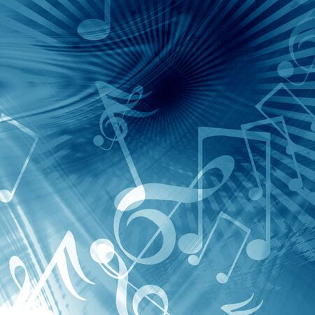 Blue abstract background with music notes on it