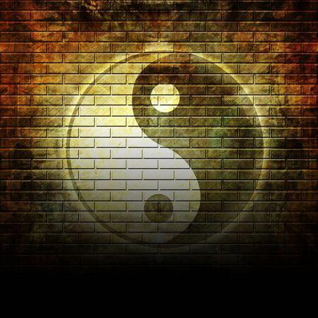 Grunge wall with graffiti yin yang symbol on it photo