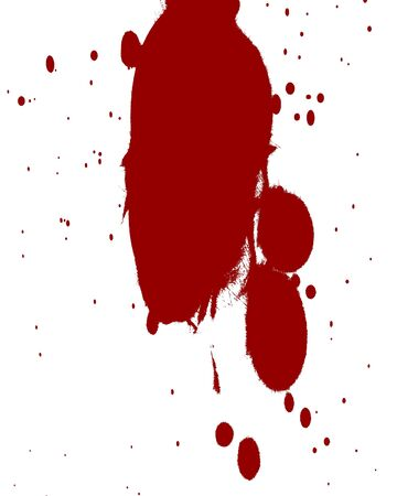 bloodied: red blood splatter on a solid white background