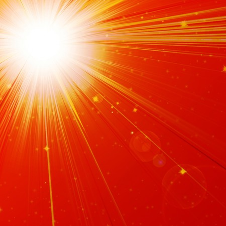 hot day: Hot summer sun on a red background Stock Photo