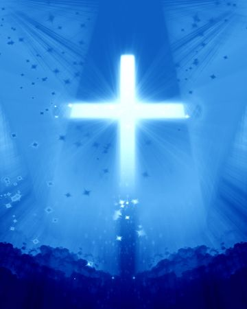 bright cross on a soft blue background photo