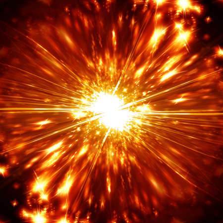 implode: Explosion on a bright red and orange background Stock Photo