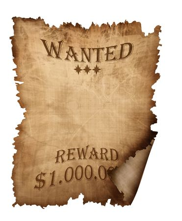 vintage wanted paper isolated on a white background Stock Photo