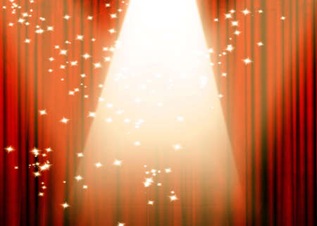 famous actor: Movie or theater curtain with bright spotlight Stock Photo