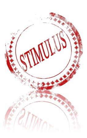 stimulus: red stimulus stamp on a white background Stock Photo