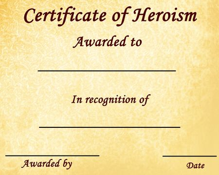 heroism: certificate of heroism with some stains on it
