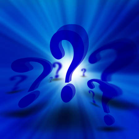 3d question marks on a soft blue background photo