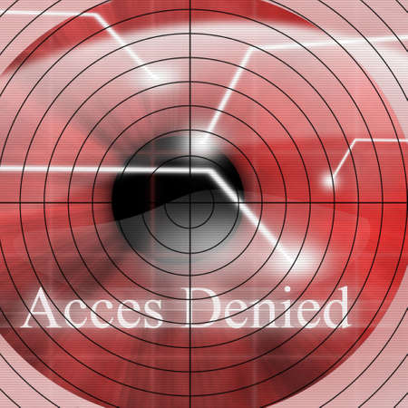 access denied: Access denied after eye scan on a red background
