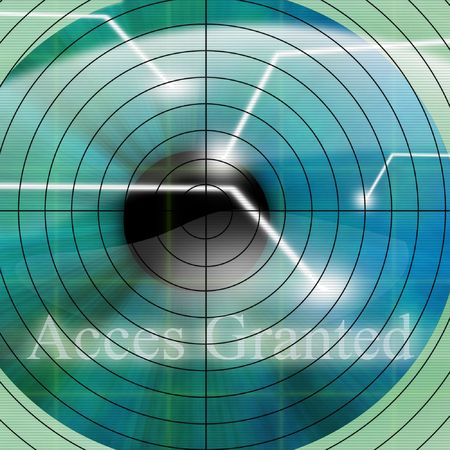 granted: Access granted after eye scan on a blue background Stock Photo