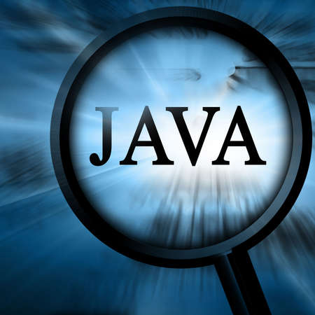java: java with magnifier on a blue background