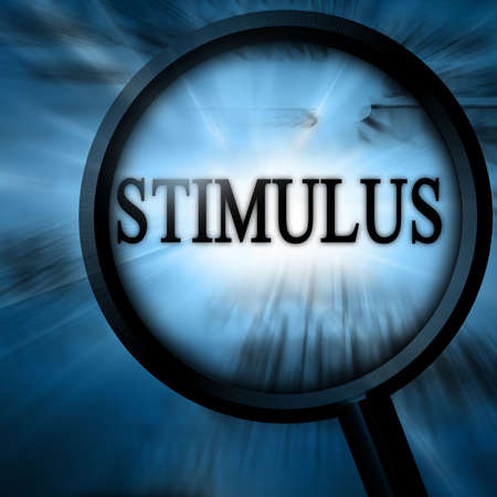 bailout: stimulus with magnifier on a blue background