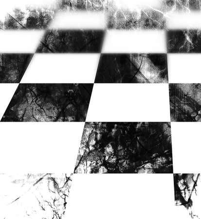 chequered floor in black and white with a grunge touch Stock Photo - 4859774