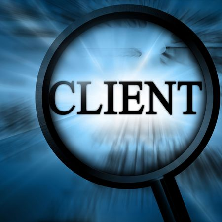 firme: cliente con la lupa sobre un fondo azul