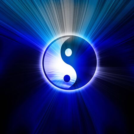 Yin Yang sign on a blue background Stock Photo