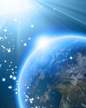 Blauwe planeet aarde in de ruimte met glitters