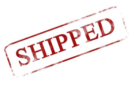 shipped: red stamp with shipped written on it Stock Photo