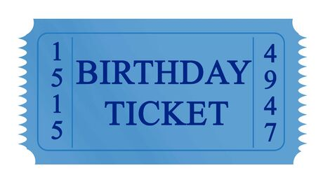 blue birthday ticket on a white background Stock Photo