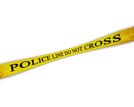 Yellow police line do not cross on a white background Stock Photo - 4908199