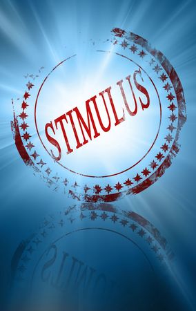 red stimulus stamp on a blue background photo