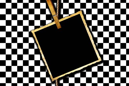 Simple checkered background with an old picture Stock Photo - 4907702
