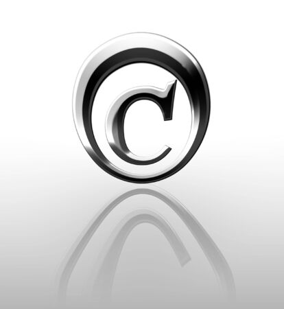 regulated: Silver copyright symbol on a white background Stock Photo
