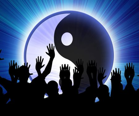 some party people with the yin yang sign Stock Photo