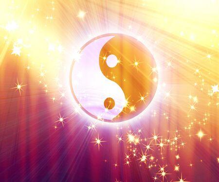 karma: yin yang sign on a sparkle background