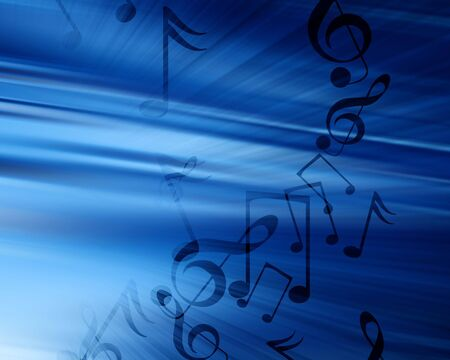 metal composition: music notes on a soft blue background Stock Photo