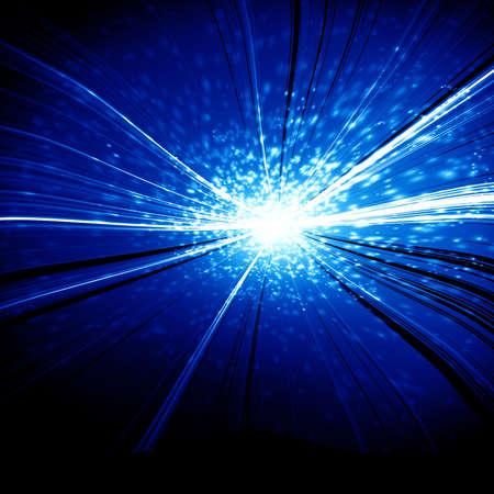implode: Blue explosion on a dark black background