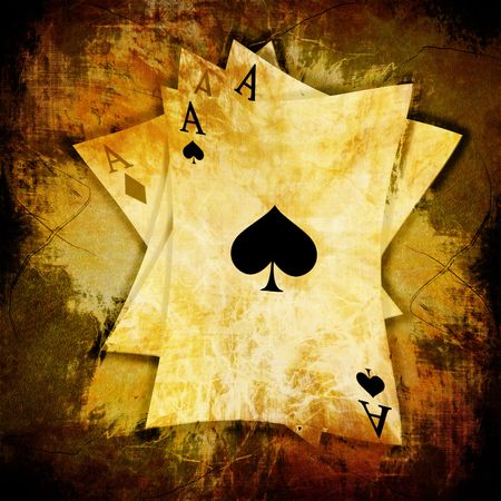poker cards: playing cards on an old grunge background