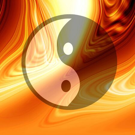Yin yang symbol on a bright red background photo