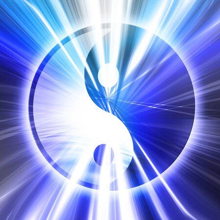 yin yang symbol on a blue background Stock Photo