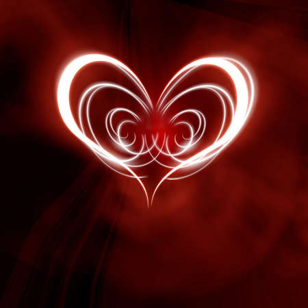twirling: glowing heart on a dark red background Stock Photo