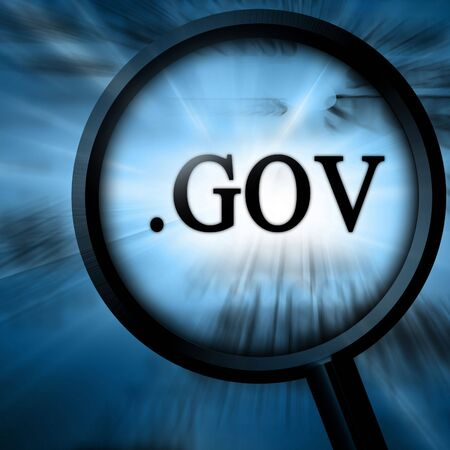gov with magnifier on a blue background Stock Photo - 4907770