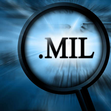 mil with magnifier on a blue background Stock Photo - 4907806