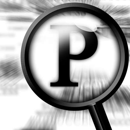 close p: letter P with magnifier on a white background