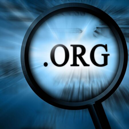 org with magnifier on a blue background Stock Photo - 4907794