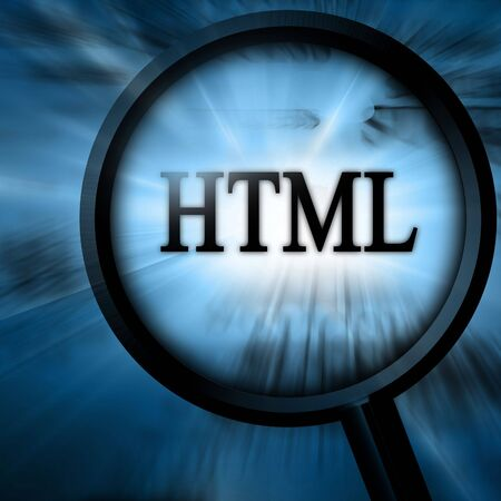 html with magnifier on a blue background Stock Photo - 4907695