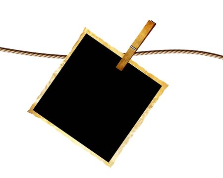 single old picture attached to a string Stock Photo - 4907919