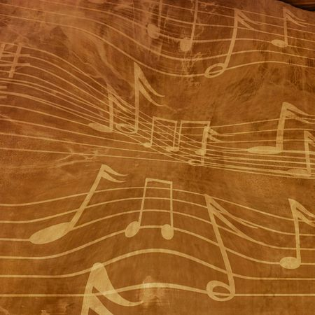 twirling: Music notes on a vintage piece of paper