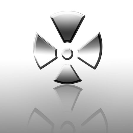 nuke: Reflected silver nuclear warning sign on a white background