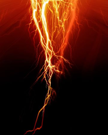 lightnings: Intense lightning flash on a red background Stock Photo