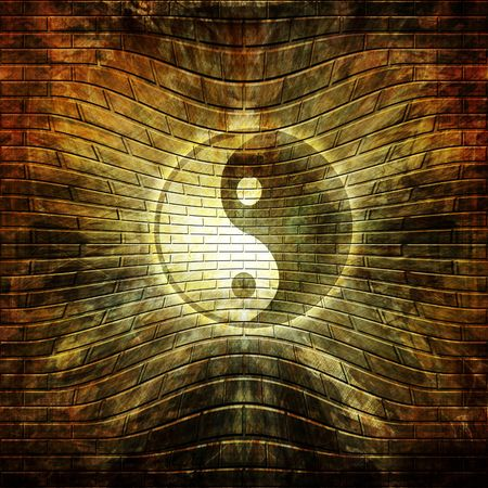 inner peace: Grunge wall with graffiti yin yang symbol on it