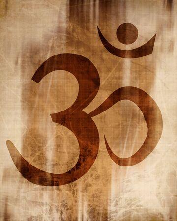 mysticism: om aum symbol on a paper background Stock Photo